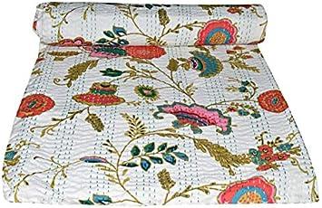 Janki Creation Couvre-lit indien en coton imprim/é floral imprim/é floral Kantha Queen Couvre-lit en coton avec cousu /à la main