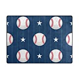 ColourLife 80 x 58 inch Lightweight Area Rug Mat for Kids Playing Room Home Decor Indoor Floor Rugs Baseball Sport Pattern