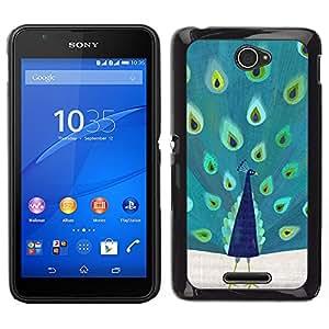 LECELL--Funda protectora / Cubierta / Piel For Sony Xperia E4 -- Pluma Patrón pájaro del trullo vibrante --