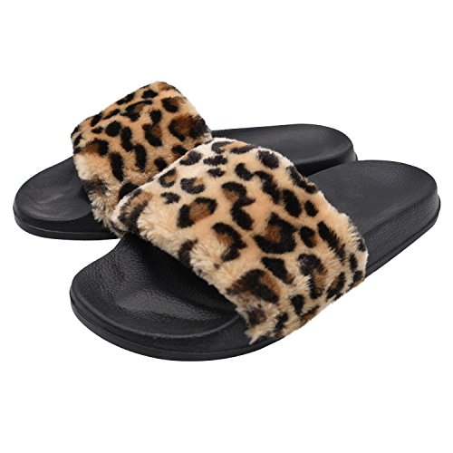 SunbowStar Women's Slippers Soft Slide Flat EVA Sandals with Fluffy Faux ()
