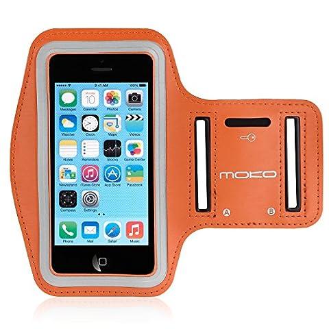 MoKo Armband for iPhone SE / 5 / 5S / 5C, Sweatproof Sports Armband Workout Running Arm Band with Key Holder & Card Slot for iPhone SE / 5 / 5S / 5C, ORANGE - Prova Perfetta