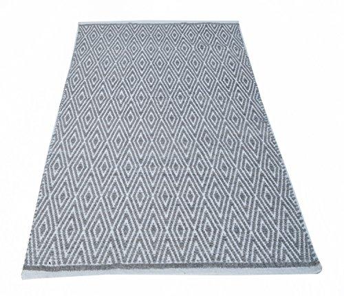 Chardin home 100% Cotton Diamond Area Rug Fully Reversible, Size - 3'x5', Machine Washable, Grey/White (Rugs Wash Machine)