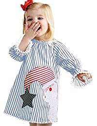 FORESTIME Kids Toddler Baby Girls Cartoon Horse Stripe Print Dress Party Dresses Birthday Gift Clothes