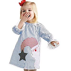 for christmassunfei toddler kids baby girls santa striped princess dress christmas outfits clothes