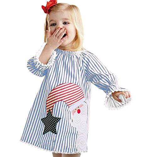 FEITONG Toddler Kids Baby Girls Trumpet Sleeve Christmas Striped Santa Print Princess Dresses Clothes(6-12M,Blue) -