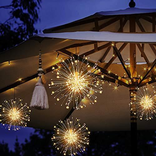 MMTX Vuurwerklampen, 120 LED Kerst Gazebo Lights Afstandsbediening Starburst Koper Draad Fairy String Verlichting…