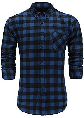 Emiqude Men's Flannel Cotton Regular Fit Long Sleeve Button Down Plaid Dress Shirt