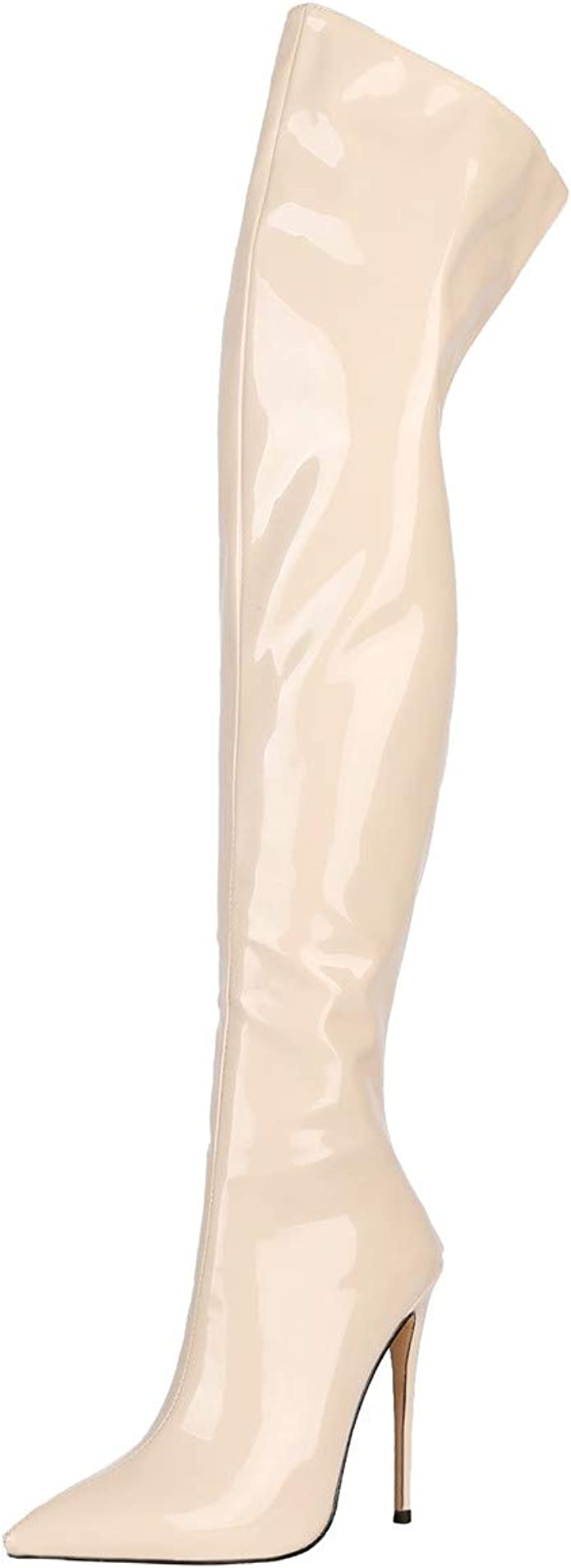 Details about  /Women/'s Thigh High Over Knee Boots Round Toe High Heels Platform Shoe Zip Patent