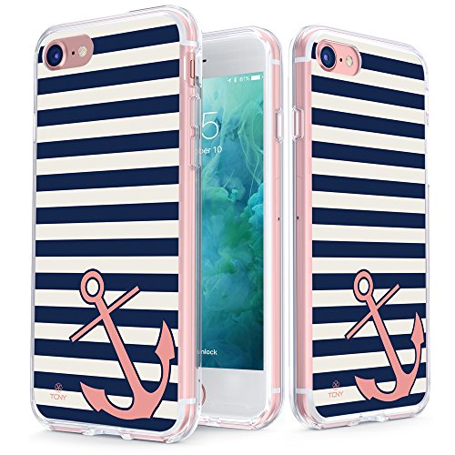 iPhone 7 Anchor Case - True Color Clear-Shield Nautical Coral Anchor on Stripes Printed on Clear Back - Perfect Soft and Hard Thin Shock Absorbing Dustproof Full Protection Bumper Cover