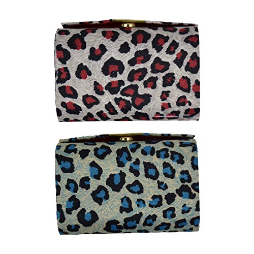Double Lipstick Case Leopard Print - Set of 2 - Blue & Red