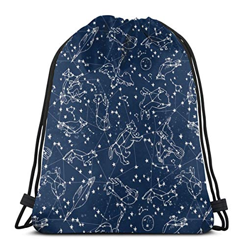 Constellations Night Time Kids Sky Animals Fox Bear Birds Stars Astronomy Navy Blue Nursery_7525 3D Print Drawstring Backpack Rucksack Shoulder Bags Gym Bag for Adult 16.9