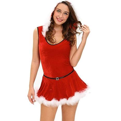 WWHEAT Sexy Traje de Navidad Etapa Traje Rojo Santa Claus ...