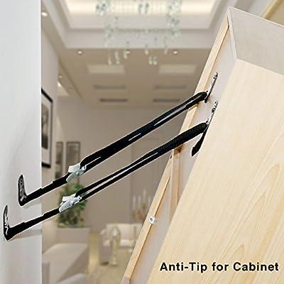 MOSPRO Anti-Tip TV Straps, Safety Baby Metal Furniture Mounting Hardware Included (Black)