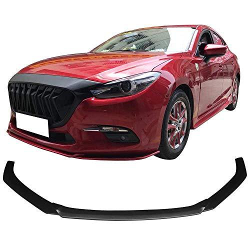 Front Bumper Lip Fits 2014-2017 Mazda 3 | V1 Style PP Unpainted Black Air Dam Chin Diffuser Lip By IKON MOTORSPORTS | 2015 2016