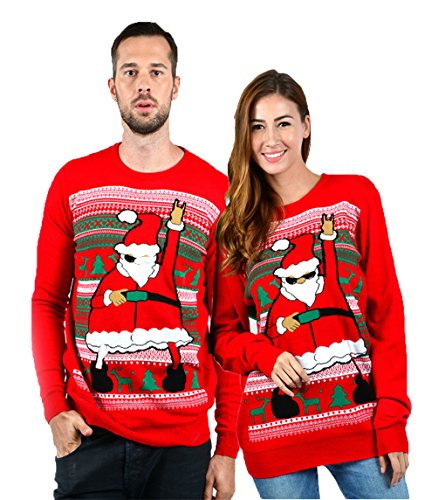 uideazone Ugly Christmas Sweater Women Men Funny Dance Santa Claus Pullover Sweater, Red3, XX-Large -