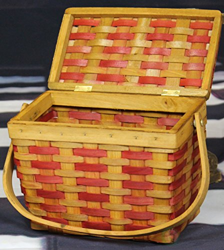 Vintiquewise(TM) QI003047 Chipwood Picnic Rectangle Basket with Burgundy Stripes