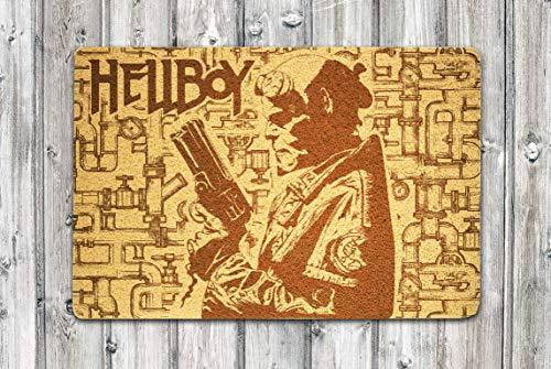 Hellboy Superhero Comic Charcter 24x16 inch Doormat Indoor Outdoor Exterior Floor Rubber Welcome Mat Home or Office Decor Birthday Christmas Easter Anniversary Gift for Him Her Boyfriend -