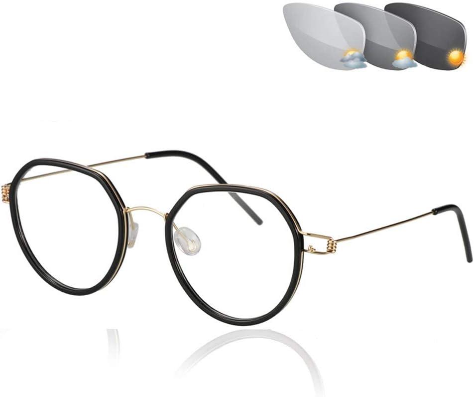 Eyedpe Transición Fotocrómica Progresiva Multi Focus Gafas de Lectura Sin línea Gradual + RX Perspectiva Gafas de Sol 0 a +400 por incrementos de 25,Sandblackframegold,+0.25