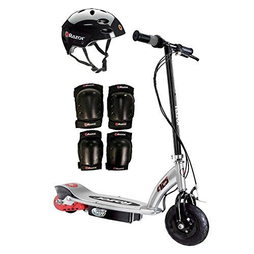 Razor E125 Motorized 24-Volt Scooter, Black + Youth Helme...