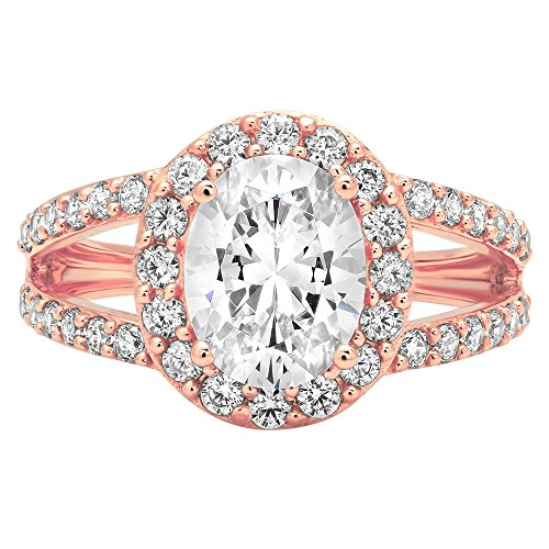 2.14ct Brilliant Oval Cut Designer Halo Solitaire Promise Anniversary Statement Engagement Wedding Bridal Ring For Women Solid 14k Rose Gold, 9 by Clara Pucci (Image #3)