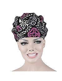 Opromo Bouffant Scrub Hat Sweat Bleach Friendly Banded Hat for Women Ponytail