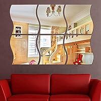 Niome 6pcs Wave Removable Home Acrylic Wall Mirror Sticker Art Vinyl Mural Decor Vogue