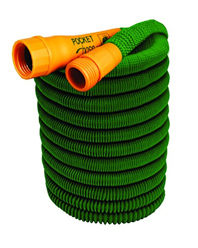 Pocket Hose Bullet 25-Ft Expandable Garden Hose by BulbHead No Hose Reel Needed, Portable Water Hose (25 Feet)