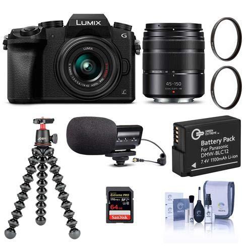Panasonic Lumix DMC-G7 Mirrorless Camera with Lumix G Vario 14-42mm and 45-150mm Lenses Lens, Black – Bundle with 64GB SDXC Card, Joby GorillaPod 3K Kit, Stereo Condenser Mic, Spare Battery, More