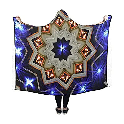 Jnseff Hooded Blanket Star Light Abstract Pattern Ornaments Blanket 60x50 Inch Comfotable Hooded Throw Wrap