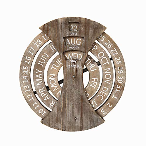 Paris Loft Wood Rustic Circular Wall Mounted Spin Perpetual Calendar, Country Style Wooden Calendar for Home and Office