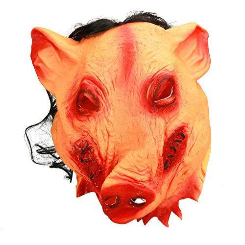 Litetao Latex Pig Scary Funny Mask Halloween Fancy Dress Costume Cosplay Moive Saw Gift (A)