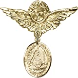 14kt Yellow Gold Baby Badge with St. Edburga of Winchester Charm and Angel w/Wings Badge Pin 1 1/8 X 1 1/8 inches