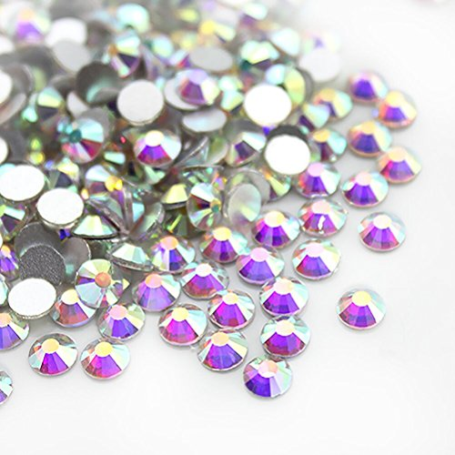 Nail Art Rhinestone Ab White Crystal 1440pcs/bag Shining Non Hotfix Flatback Rhinestone Decorations for Nails (SS12)