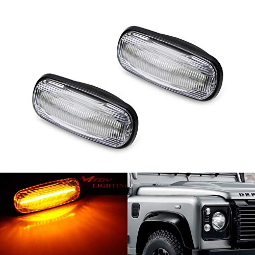 iJDMTOY Clear Lens Amber Full LED Front Side Marker Light Kit For 98-15 Land Rover Defender, 02-05 Freelander & 98-04 Discovery 2 LR2, Powered by 16-SMD LED, Replace OEM Sidemarker Lamps