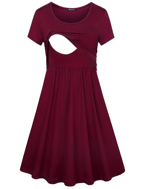 Quinee Women's Floral Short Sleeve Summer Maternity Nursing Breastfeeding Dress (X-Large, Wine)