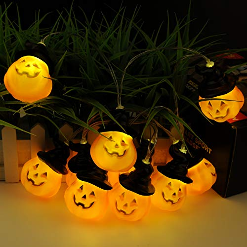 TOOWELL Halloween String Lights Jack-O-Lantern Pumpkin Lights Battery Operated 10LED