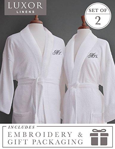 Elegant Monogram - Luxor Linens Couple's Terry Cloth Bathrobe Egyptian Cotton Unisex/One Size Luxurious Soft Plush Elegant San Marco (Mr. & Mrs. with Gift Packaging, Black Monogram)