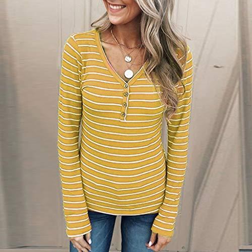 LEXUPA Womens Long Sleeve Casual Stripe T-Shirt O-Neck Blouse Button Shirt Tank Top (Large,Yellow)