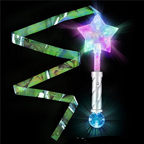 Light Up Super Star Princess LED Wand with Steamers