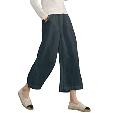 ef190fbae513a Ecupper Women s Elastic Waist Causal Loose Trousers Plus 100 Linen Cropped  Wide Leg Pants Dark Blue