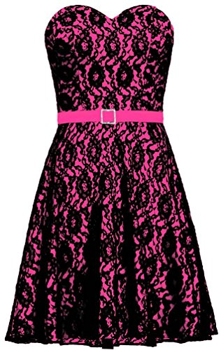hot pink and black cocktail dresses - 8
