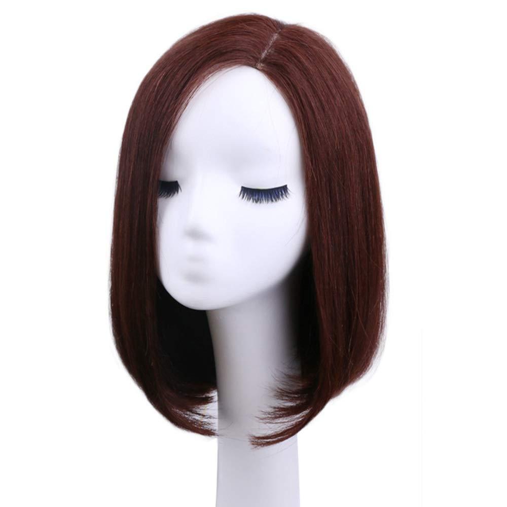 Isikawan 女性の毎日のドレスリアルヘアボブウィッグのためのバックルストレートヘア (色 : Dark brown, Design : Mechanism) B07QVYLKLG Dark brown Mechanism