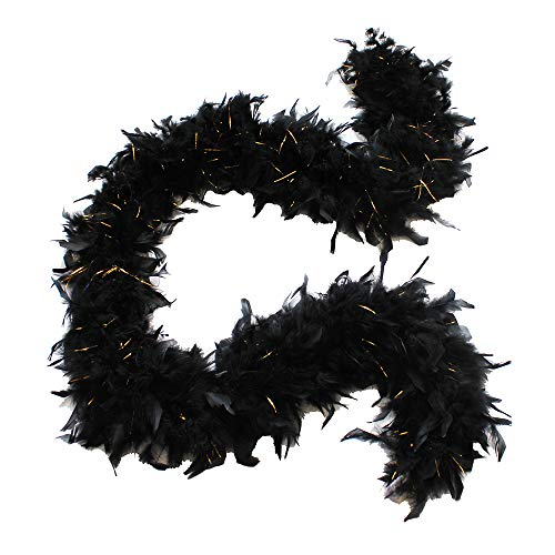 Cynthia's Feathers 80g Chandelle Feather Boa (Black/Gold Tinsels)]()