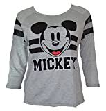 Disney Mickey and Minnie Mouse Three Quarter Sleeve Juniors Shirt (M, Gray)