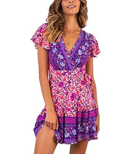 (Womens Boho Dress Wrap Swing Sundress Ruffle Floral V Neck A Line Beach Mini Skirt with Belt (M, Purple))