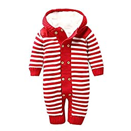 Luuack Unisex Baby Striped Footless Coveralls Toddler Winter Double-breasted Thick Coral Fleece Hoodied Outing Clothes 0-18M