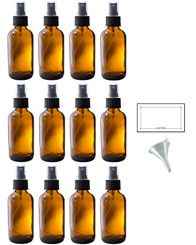 4 oz Amber Glass Boston Round Fine Mist Spray Bottle (12 pack) + Funnel and Labels for essential oils, aromatherapy, food grade, bpa free
