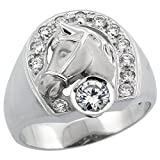Mens Sterling Silver Cubic Zirconia Horseshoe & Head Ring Brilliant Cut 3/4 inch wide