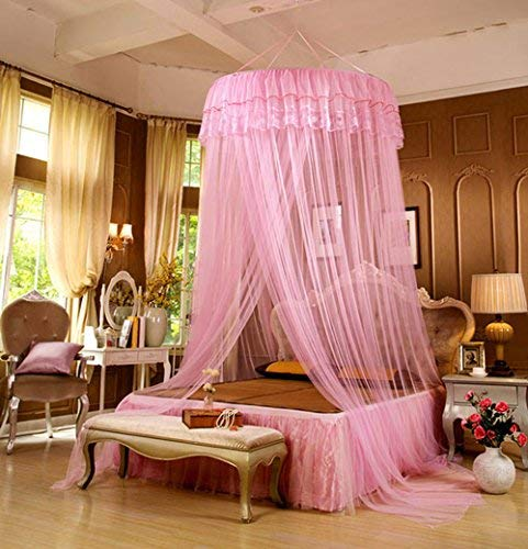 RuiHome Round Lace Hanging Mosquito Net Princess Pink Canopy for Teens Girls Bedroom Dorm, Insect Protection Mesh Netting