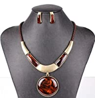 AOLOSHOW Necklace Earrings Sets Women's Round Pendant Statement Necklace with Stud Earrings